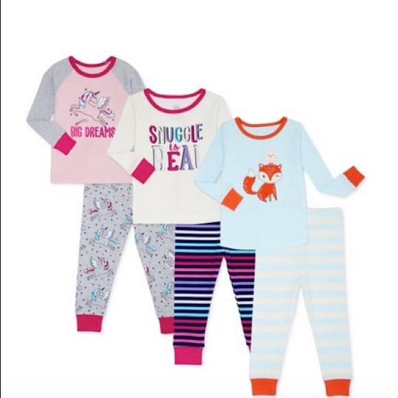 NWT 4t 4 unicorns rainbows fox 6 pc 3 pajamas sets